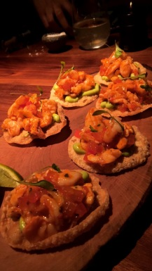 Prawn Ceviche Tostada (Guacamole, Valentina Chipotle Sauce, Coriander)