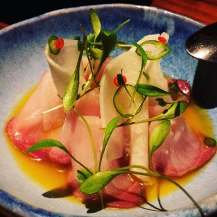 Yellow Tail Aguachile with Orange, Ginger, Passion Fruit and Jicama