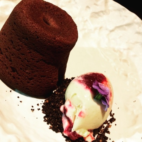 Smoked Chocolate Fondant (Smoked Chocolate, Cherry Ripple Ice Cream)